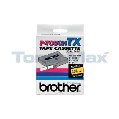 BROTHER P-TOUCH TAPE BLACK/YELLOW (1/2 X 50)